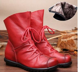 Wholesale Vintage Women Winter Snow Boots - 2017 Vintage Style Genuine Leather Women Boots Flat Booties Soft Cowhide Women's Shoes Front Zip Ankle Boots zapatos mujer NMM1