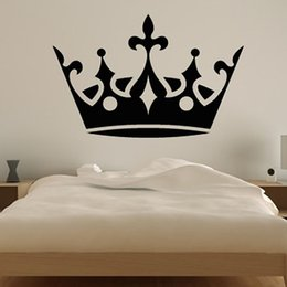 Wholesale Mural Princess - Large Crown Wall Decal Vinyl Princess Bedroom Decorative Wall Sticker Home Decor Wedding Decoration