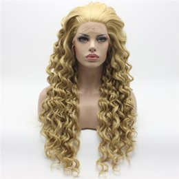 Wholesale Three Tone Lace Front Wigs - Iwona Hair Curly Long Three Tone Honey Blonde Mix Wig 18#613 16 27HY Half Hand Tied Heat Resistant Synthetic Lace Front Wig
