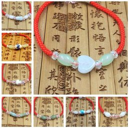 Wholesale Best Jade Bracelet - Best gift Natural Burmese jade crystal ceramic red bracelet men and women jewelry FB038 mix order 20 pieces a lot Beaded, Strands
