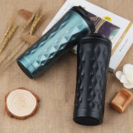 Wholesale Travel Vacuum Flask Coffee Mugs - Fashion Black Diamond Design Stainless Steel Vacuum Flask Coffee Mug Travel Tumbler Water Thermo Car Drink Cup 500ML Gift ZA3134