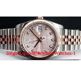Wholesale Mechanical Watch 36mm - New arrive Luxury watches free gift box Wrist watch New 36mm Rose Gold SS Pink Jubilee Diamond Dial - 116231