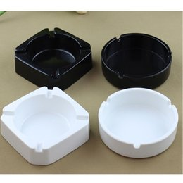 Wholesale square melamine - Fashion Melamine Ashtrays Round Square Shallow Edge Ashtray Chain Restaurant Cigarette Ash Container Holder Free Shipping ZA4498