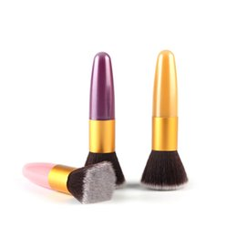 Wholesale Flat Top Buffer - Wholesale-Beginner Flat Top Buffer Foundation Powder Brush Cosmetic Makeup Basic Tool Plastic Handle S1 LY6