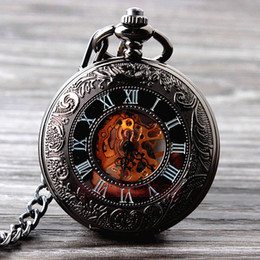 Wholesale Cool Pocket Watches - Wholesale-2015 New Cool Hand Wind Mechanical Pocket Watch Skeleton Watches Fashion Men Watch Vintage Pocket Watch