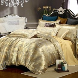 Wholesale Quilt Bedcover - Wholesale- Luxury bedding set Silk 4pcs bedclothes bed linen sets queen king size Quilt duvet cover set bedsheets cotton bedcover bed set