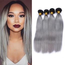 двухцветные седые волосы Скидка Темные корни Ombre бразильский Virign волос 4 пучки два тона 1b серый Ombre прямые человеческие волосы плетет 4 шт. много серых волос расширения