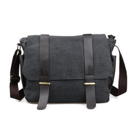 Wholesale mens laptop briefcase - Wholesale- Designer Briefcase Men Messenger Bags Vintage Canvas Shoulder Bag Mens Buisness Bag Attache 14 inch Laptop Case Office Briefcase