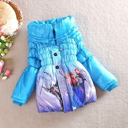 Wholesale Snow Coat For Kids - Winter baby girl parkas coat snow queen elsa anna cotton overcoat for 3-8yrs girls kids children warm thick outerwear clothes