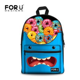Wholesale Backbag Child - Wholesale- FORUDESIGNS Canvas Emoji Teenage Girls School Backpack Women Travel Backbag Kawaii Children Rucksack Kids School Laptop Backpack