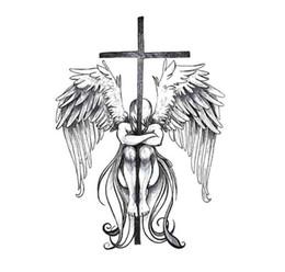 Flügel tattoo hand online-Temporäre Große Tattoo 3D Cool Angel Wings Zurück Tattoo Aufkleber Wasserdichte Große Fake Tattoo Aufkleber für Männer