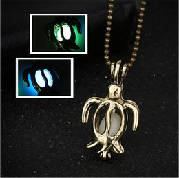 Wholesale Turtle Jewelry For Women - hot! 2017 fashion hollow small turtle can open creative luminous pendant necklace gold plated retro necklace for women jewelry accessories