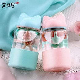 Wholesale Hands Bag Candy - 300ML Candy Colors My Glass Water Bottle Fox Silicone Drinking Water For Bottle Child Animal Tumbler Bottles Coffee Keep Tea