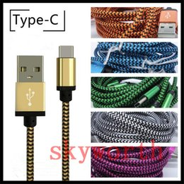 v8 cable color Promo Codes - Type C Data Sync 3FT 6FT 10FT 3M Colorful Braid Cable For Macbook 12 Inch For Mirco USB V8 Charging Cord