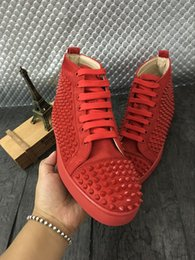 Wholesale Casual Wedding Party - Original Box Top Red Sole Shoes France Top Brand Red Bottom Men Women Shoes Sneaker Lou Spikes Genuine Leather Party Wedding Casual Shoes