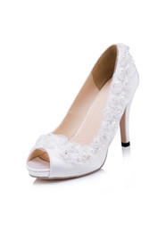 Wholesale Handmade Women Shoes - Stunning Satin High Heels Wedding Shoes For Women 2017 Pearls Women Shoes For Formal Occasion Peep Toes Slip-On Shoes With Handmade Flowers