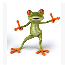 Wholesale Wall Stickers Dance - Cute Green Frog Toilet Sticker Fashion HAPPY DANCING Plastic 3D Toilet Sticker for Wall Bathroom Decoration