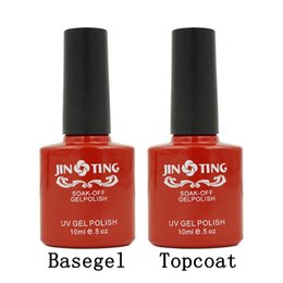 Wholesale gel for nails kit - Wholesale-Fashion Top it off Coat   Base gel Foundation Kit JingTing for UV Gel Nail Polish Gorgeous Colors Best 10ml