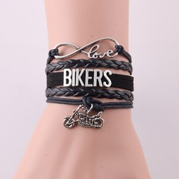 Wholesale Biker Leather Wholesale - Wholesale- Infinity Love Ride Biker bracelet Harley Motorcycle leather Charm Bracelets & Bangles for women men jewelry gift for Harley Fans