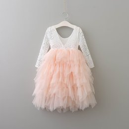 Wholesale White Cotton Dresses For Children - 2017 Spring Autumn New Girls Princess Dresses Lace Flower Tiered Tulle Maxi Dress Long Sleeve For Wedding Party Children Clothes 1-9Y E17104