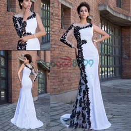 29267044cf7f donne bianche nere abiti formali Sconti Robe de Soiree Longue White Black  Mermaid Abiti da sera
