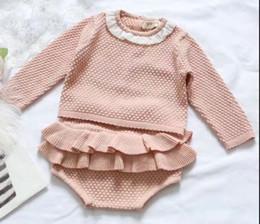 Wholesale 18 Month Girl Sweater - 2017 Wholesale Baby Girls Knitting 2 Pcs Set Sweater+Ruffles PP Shorts Cotton Fashion Autumn Girls Suits Z674