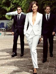Wholesale Tuxedo Pants Suits For Women - smart white ivory women tuxedos slim fit suits for women shawl Lapel one button custom women suits wool blend two piece Suit (Jacket+Pants)