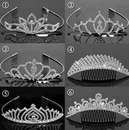 Wholesale Wholesale Girls Rhinestone Headbands - Fashion bride wedding crystal crown comb headband children girl party events rhinestone Tiaras Hair Jewelry 6 types Christmas gift