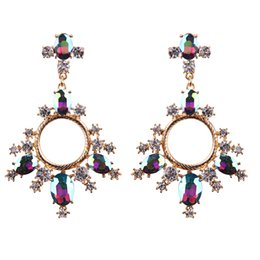 Wholesale Dangle Resin Flower - Ladies Luxury Bohemian Statement Crystal Wedding Accessory Boho Drop Dangle Earrings For Women Maxi Jewelry boucle d'oreille