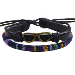 Wholesale Spectacle Rope - Europe and America character spectacles wax rope hand-woven bracelet fashion jewelry unisex Genuine cowhide bangle Christmas Gift wholesale