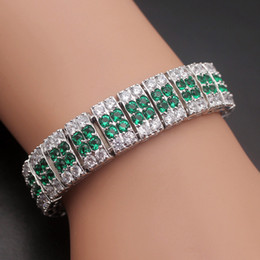 Wholesale Hermosa Sterling Silver - 925 Sterling Silver Links Bracelet Jewelry Natural Blue Sapphire Amethyst Ruby Green Emerald Rhinestone Hermosa Gemstone Prom Gifts 7 Inch