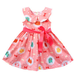 Wholesale Baby Animal Ribbon - 2017 Baby Kids Girl Dresses Candy Color Spring And Summer Toddler Dress Girls O-neck Ruffles Princess Dress With Belt Clothes