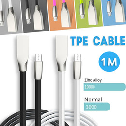 Wholesale Chinese Brand Android Phone - Micro USB and Phone Cable 1M 3.3ft shaped Rhombus TPE Cable Tangle Free Zinc Alloy Plug USB 2.0 Data Cable for iPhone Android Samsung