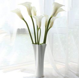 "Wholesale Artificial Plant Large - Home fashion 24.8"" large calla lily artificial flowers overall floral for living room table plants wedding home decoration DHL free shipping"