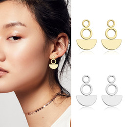 Wholesale Prices Copper Jewelry - 2017 Summer Hot Style Women's Basic Copper Plated 14 k Gold Stud Earrings Geometric Stud Jewelry Earrings Factory Price Top Quality