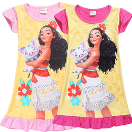 Wholesale Summer New Skirt - Girl Moana princess dresses 2 Color Kids baby girls new printing moana short sleeves dress summer cartoon Children night skirt B001