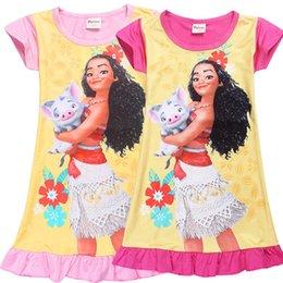 Wholesale Girls Shorts Tutu New - Girl Moana princess dresses 2 Color Kids baby girls new printing moana short sleeves dress summer cartoon Children night skirt B001