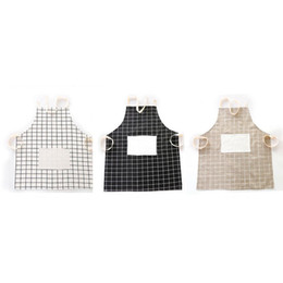 Wholesale Apron Patterns - Adjustable Cotton Lattice Pattern Apron Chef Waiter Kitchen Cook Apron With Pockets Japanese style home hotel Kitchen Accessories