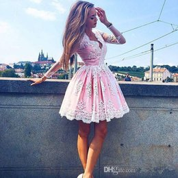 Wholesale Hot Pink Cupcakes - Blush Cupcake Homecoming Dresses Short Lace Ball Gown Hoilday Dress Hot V Neck With Long Sleeves Charming Evening Gowns