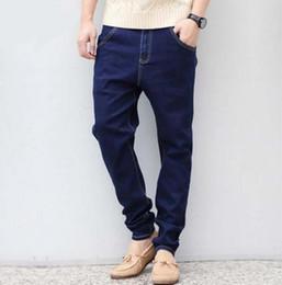 Wholesale Tapered Spring - Wholesale-2016 new arrive spring long male jeans slim pencil pants dark blue harem taper jeans men plus size plus size