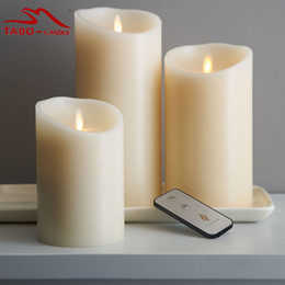 Wholesale led candles timers - 3pcs set classic Wax Luminara Moving Wick Flameless Candle with Vanilla Scented Battery Powered Timer & Remote Included for Decoration