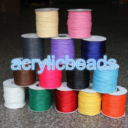 Wholesale Diy Accessories Bracelet Strings - Wholesale Colorful 1mm Korean Waxed Wire Cord Thread Polyester Shamballa String Jewelry Line Wire Bracelet Accessories DIY 165m 200Yard