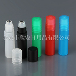 Wholesale Empty Bottle For Perfumes - 5ml Roll on Plastic Bottle for Essential Oil Empty Aromatherapy Perfume Bottles Refillable Metal Ball and pp Ball