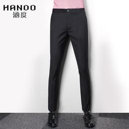 Wholesale Slim Fitting Formal Dresses - 2017 Black Men slim fit suit business pants Gentleman Dress Pants Suit Trousers pantalon costume homme wholesale