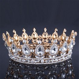 Wholesale King Crowns Tiaras - Vintage Baroque Queen King Bride Tiara Crown For Women Headdress Prom Bridal Wedding Tiaras And Crowns Hair Jewelry Accessories