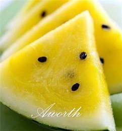 Wholesale Diy Sweets - Yellow Watermelon Green Skin Fruit 10 Seeds Very Sweet Easy to Grow DIY Home Garden Heirloom Non-GMO Fruit Seed