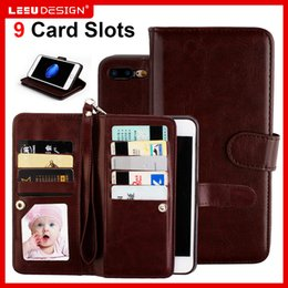 Wholesale Card Cash Wallet - For iphone 7 Wallet Case iphone 7 plus PU leather cases with photo frame 9 cash slot credit card pocket with stand iphone 6s plus S8 plus S8