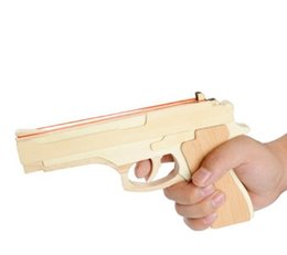 Wholesale Wooden Toy Pistol - Wooden gift Pistol Rubber Hand Toy Outdoor Shooting Band Launcher Gun Birthday toys Classical Toys Puzzle (Color: Wood brown)