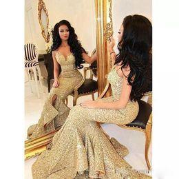 Wholesale Sale Women Winter Wears - Sale Stunning Golden Sequin Mermaid Prom Dresses Sexy Spaghetti Straps Split Ruffles Women Formal Evening Wear 2017 Fall