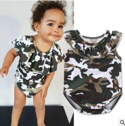 Wholesale Girls Camouflage Shorts - Ins Cotton Baby Romper Shorts 2017 Summer Camouflage Baby Onesies Ruffle Neck Girls Jumpsuit Toddler Infant Outwear Bodysuit Baby Clothes